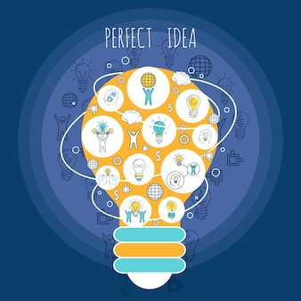 Perfect idea illustration with elements composition