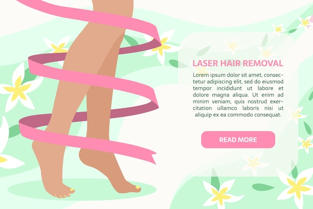 Perfect legs with ribbon around on the abstract background with leaves and flowers.