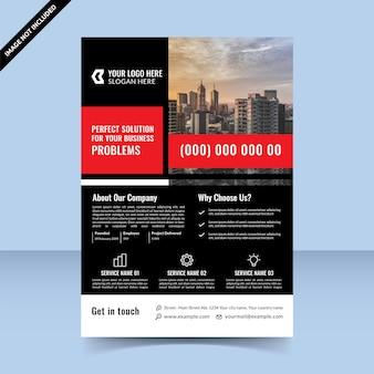 あなたのビジネス問題のための完璧な解決策。赤黒チラシテンプレートデザイン