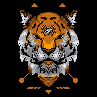 Perfect tiger head vector illustration in black background