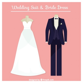 完璧な結婚式のスーツと花嫁のドレス