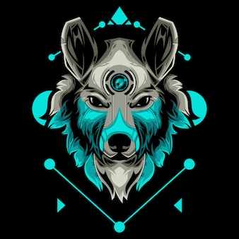 Perfect wolf head vector illustration in black background