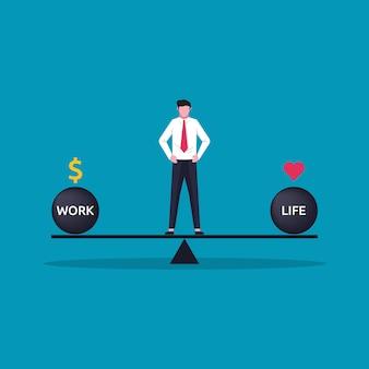 完璧な仕事と生活のバランスの概念。幸福と健康な人々を達成するために体重計のシンボルの上に立ってビジネスマンキャラクター。