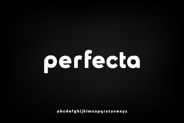 Perfecta、テクノロジーをテーマにした抽象的な未来的なアルファベットフォント。モダンなミニマリストのタイポグラフィデザイン