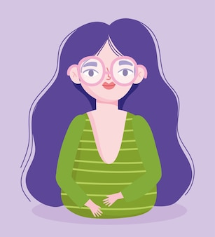 Perfectly imperfect, cartoon woman with glasses and long hair