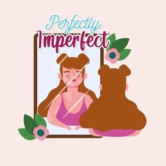 백반증이있는 완벽하게 불완전한 소녀가 거울 그림을 본다. 프리미엄 벡터