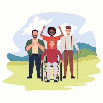 Совершенно несовершенные люди группируют персонажей в полевой сцене