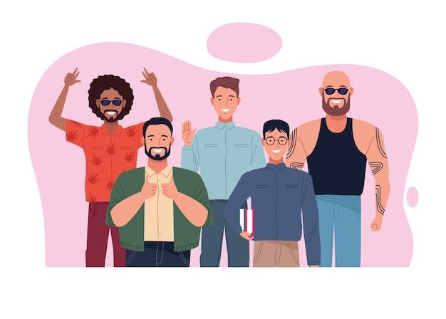 Совершенно несовершенная сцена персонажей группы людей