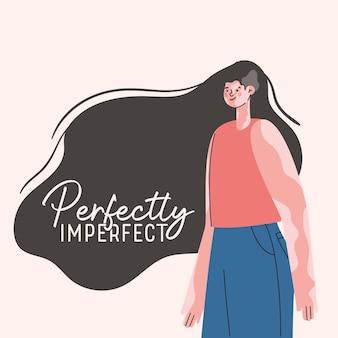 Совершенно несовершенный дизайн мультфильма женщины витилиго, тема любви и заботы о себе