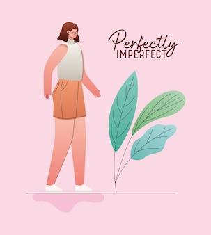 Совершенно несовершенный женский мультфильм с дизайном листьев, тема любви и заботы о себе