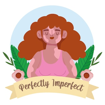 Perfectly imperfect woman with vitiligo cartoon portrait, flower decoration  illustration