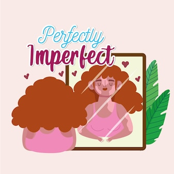 Vitiligo를 가진 완벽하게 불완전한 여자는 거울 그림에서 보인다