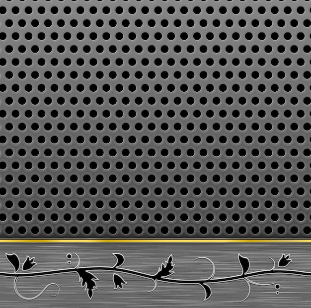 금속 꽃 패턴으로 천공 된 배경
