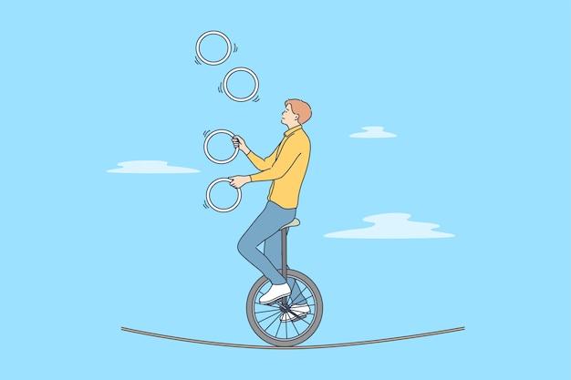Perform acrobatics concept in hand drawn