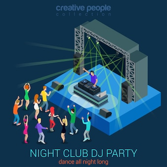 Performance electronic music people dancing scene night club dance dj party isometric concept