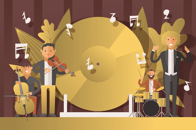 Performance people musicians in suits,  illustration. men character play classical music on musical instruments, violin