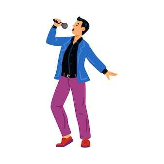 Performance singing man with microphone at karaoke or popular music show