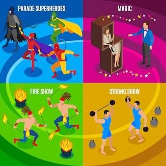 Esecutori e icone di concetto di intrattenimento messe con l'illustrazione isolata piana di simboli magici