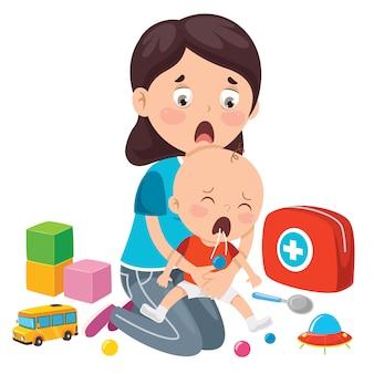 赤ちゃんのためのcpr応急処置の実行