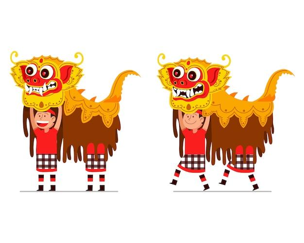 伝統的なバリのライオンダンサーの実行