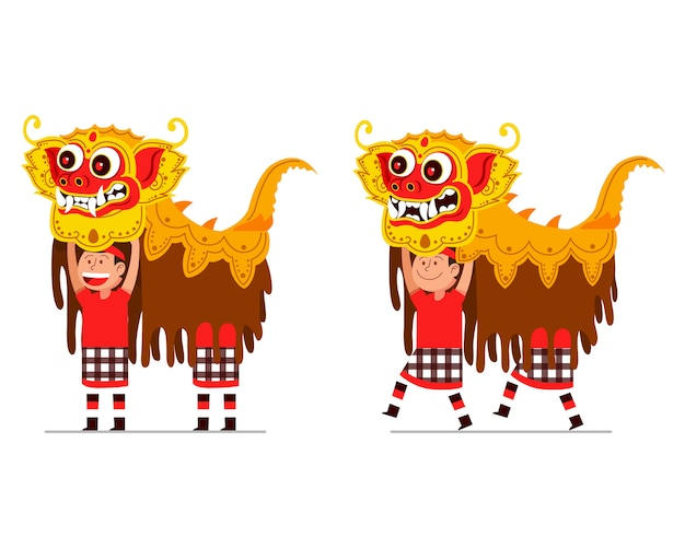 Performing of traditional balinese lion dancer