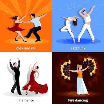 Performing various styles of dancing people flat character set isolated vector illustration