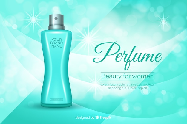 Perfume ad concept in realistic style