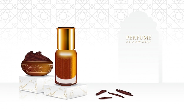 Perfume agarwood with isolate bottle and pattern