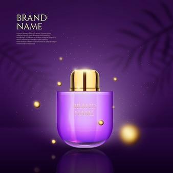 香水と3dドットのデザイン広告
