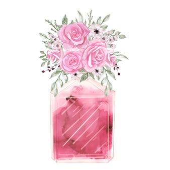 Духи и цветы роза розовая акварель клипарт мода иллюстрация