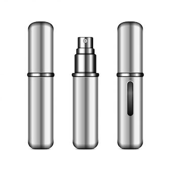 香水アトマイザー。香りのリアルなコンパクトシルバースプレーケース。閉じた状態と開いた状態のパッケージ