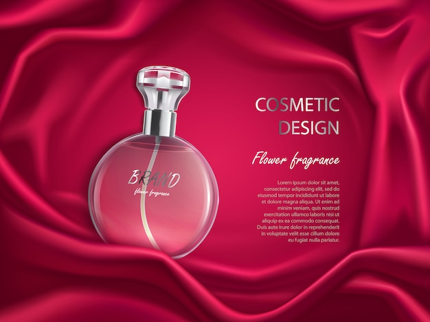 Perfume bottle, flower fragrance cosmetic design banner