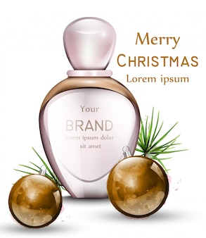 Perfume bottle realistic with golden watercolor baubles