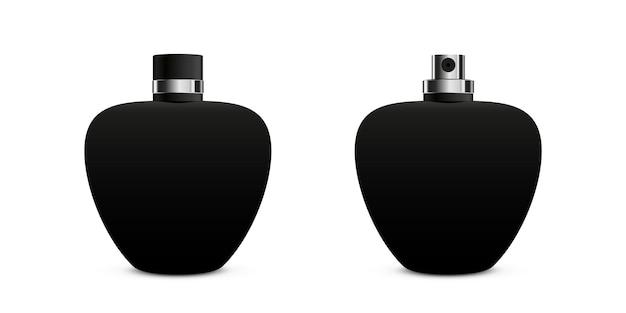香水瓶スプレーモックアップベクトルイラスト開いたキャップと黒のフラコンデザインコレクション
