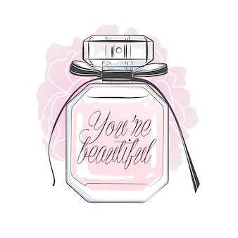 Perfume bottle with lettering. hand drawn vector illustration.