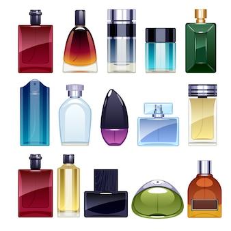 Набор иконок флаконов духов иллюстрации. парфюмированная вода. туалетная вода.