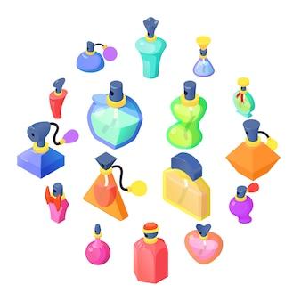 Perfume bottles icons set, isometric style