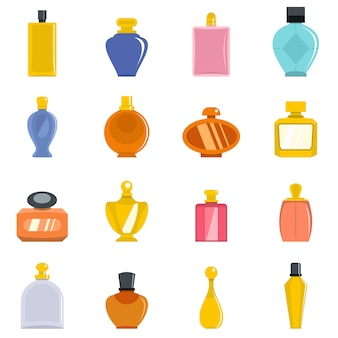 Perfume bottles icons set