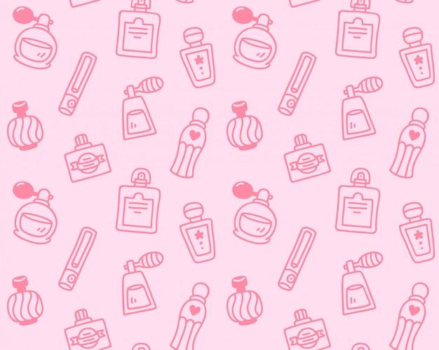 Perfume bottles seamless background