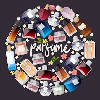 Perfume bottles shop composition. flat design. different shapes and colors of bottles for man and woman.