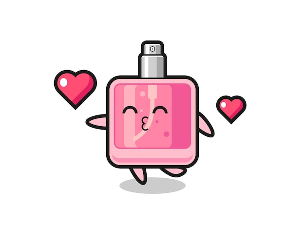Perfume character cartoon with kissing gesture , cute style design for t shirt, sticker, logo element