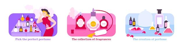Illustrazioni piatte del concetto di profumo