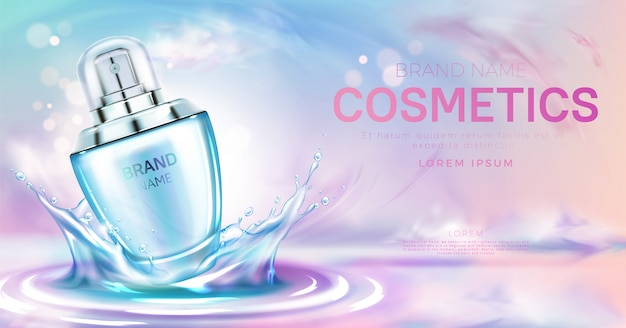 Perfume cosmetic bottle on splashing water surface banner