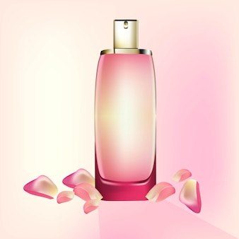 Perfume cosmetics package vector realistic mock up. eau de toillete golden bottle perfect for advertising, flyer, banner, poster. 3d illustration