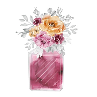 Perfume and flowers maroon orange watercolor clipart fashion illustration