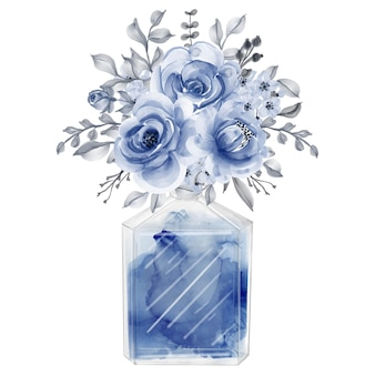 Perfume and flowers navy blue watercolor clipart fashion illustration