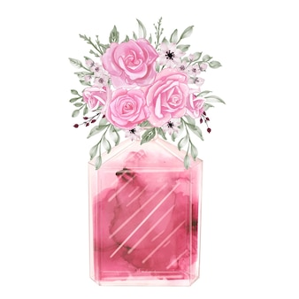 Perfume and flowers rose pink watercolor clipart fashion illustration