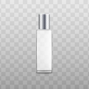 Perfume fragrance spray container or bottle with silver lid realistic vector illustration isolated . aroma products packaging template.