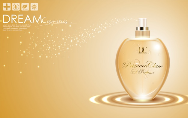 Perfume in a glass bottle on gold background