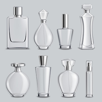 Perfume glass bottles realistic set